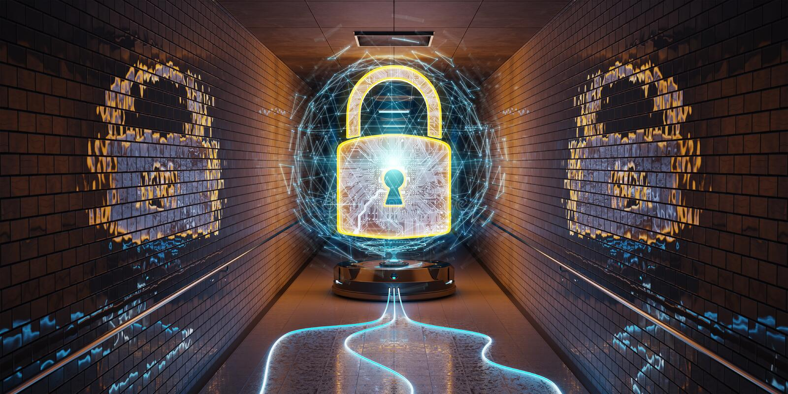 Underground cyber security hologram with digital padlock 3D rend stock illustration