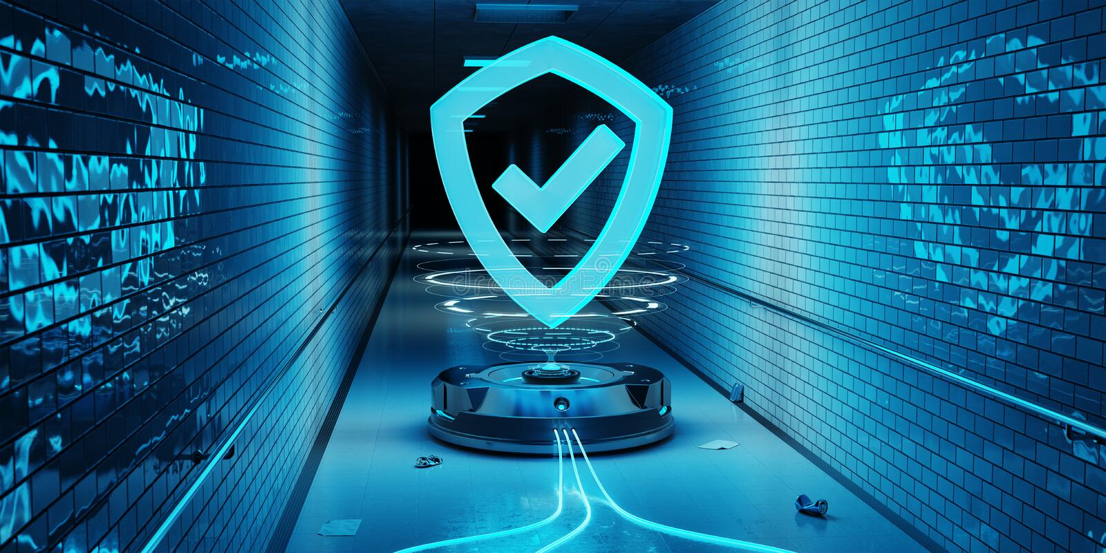 Underground cyber security hologram with digital shield 3D rendering royalty free illustration