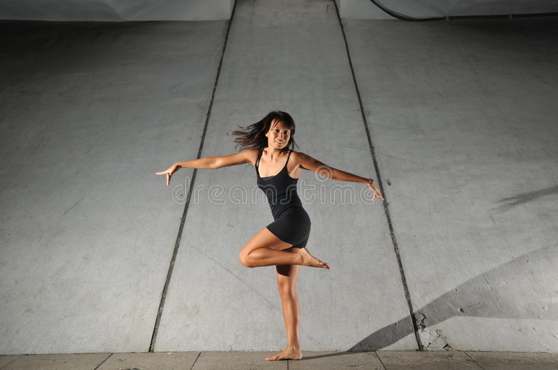 Underground Dance 44. Artistic Picture of a Dancer performing athletic contemporary dance moves royalty free stock image