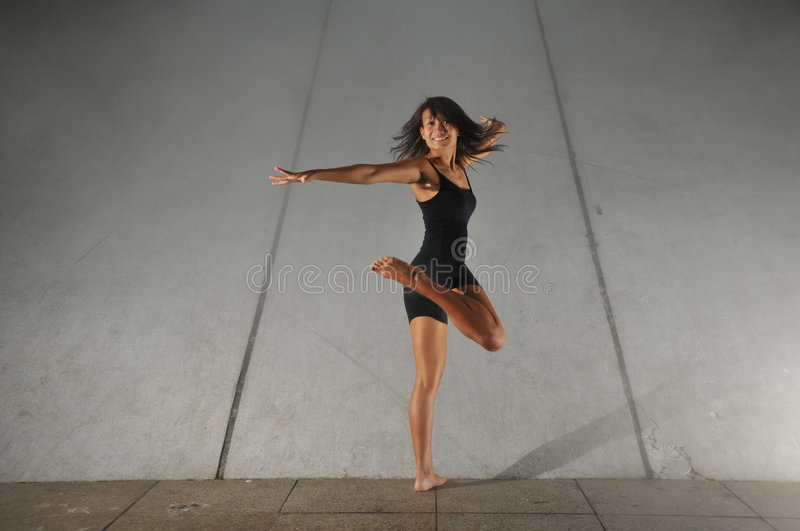Underground Dance 45. Artistic Picture of a Dancer performing athletic contemporary dance moves stock image
