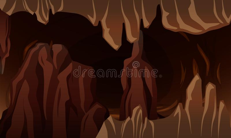 A Underground dark cavern. Illustration royalty free illustration