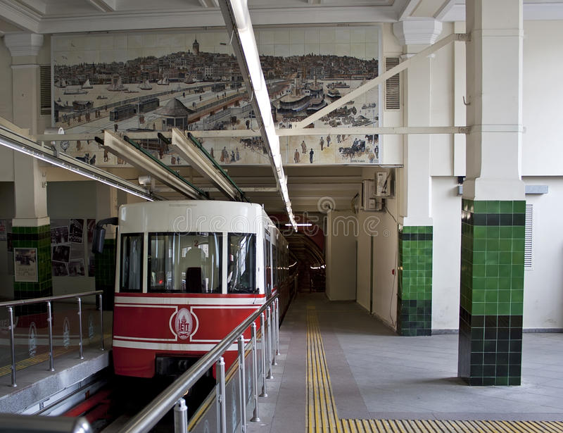 Underground funicular in Istanbul, raw royalty free stock image