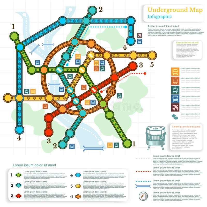 Underground infographic with lines of metro on city map stock illustration