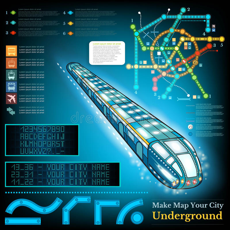 Underground infographic with sample lines of metro and map stock illustration