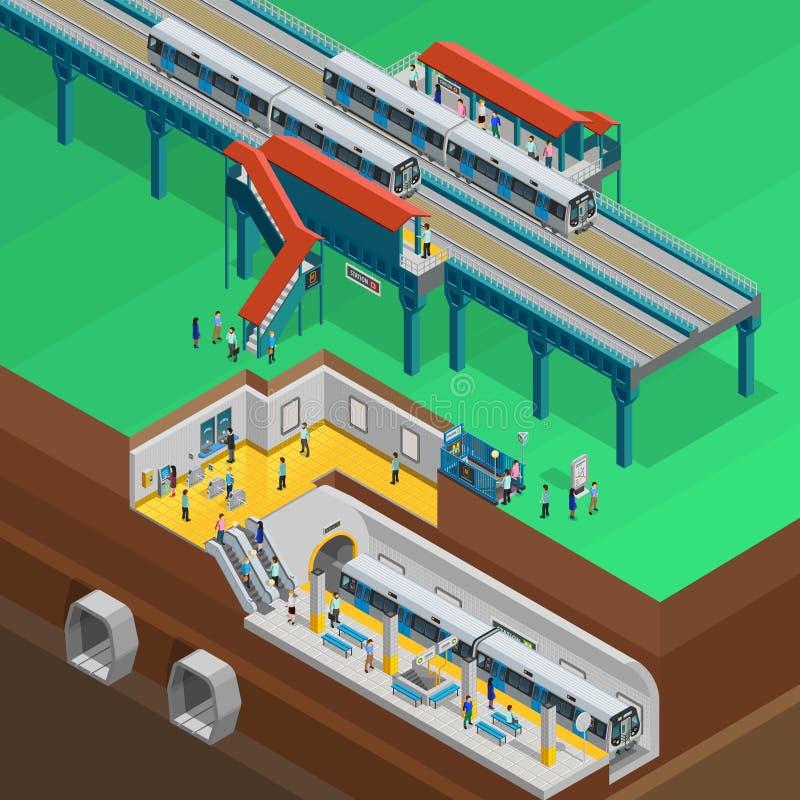 Underground Isometric Illustration. Underground composition with station platform people and tickets isometric vector illustration royalty free illustration