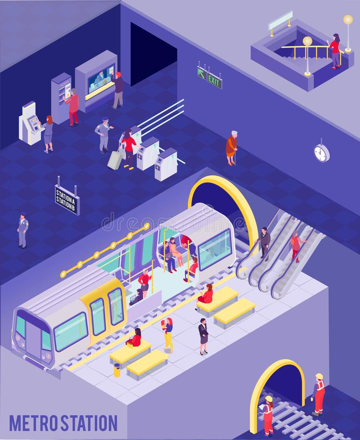 Underground Isometric Poster. Colorful isometric poster with people at underground metro station 3d vector illustration royalty free illustration