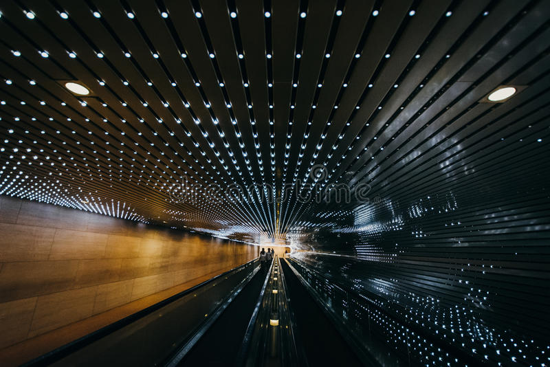 Underground moving walkway at the National Gallery of Art, in Wa stock photo