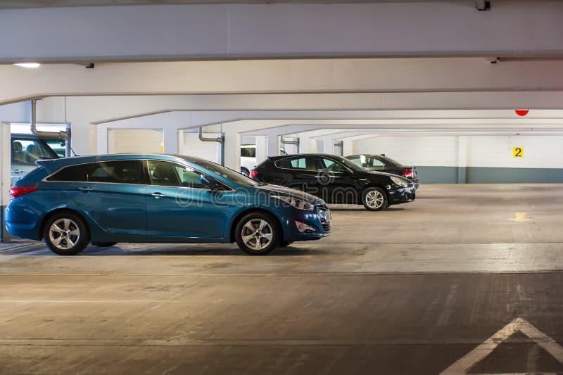 Underground parking. Garage in Birmingham, UK royalty free stock photos