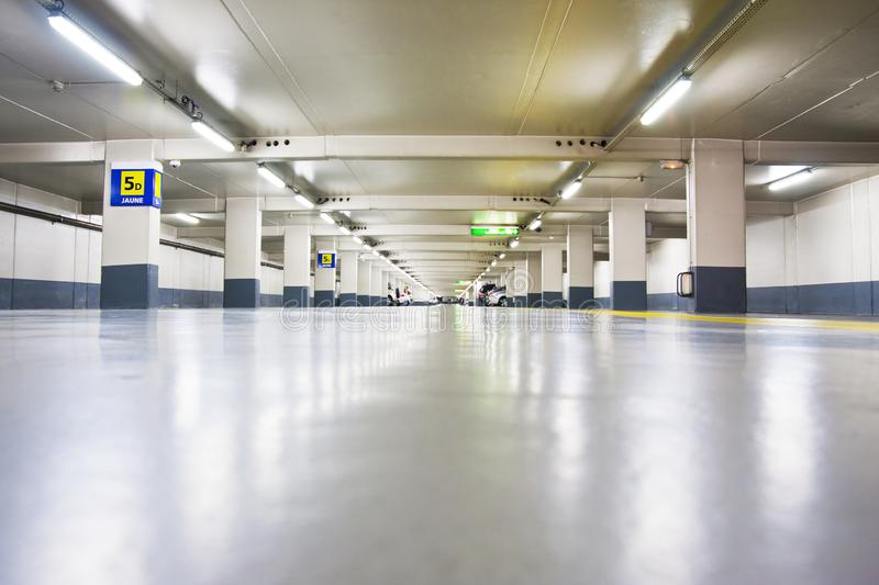 Underground parking zone in Paris - France. stock photography