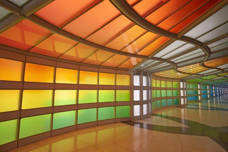 Underground passage in the Chicago O\'Hare airport stock photo