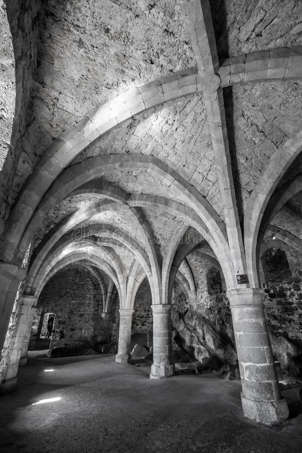 Underground passage at Chillon Castle - Veytaux, Switzerland royalty free stock photography