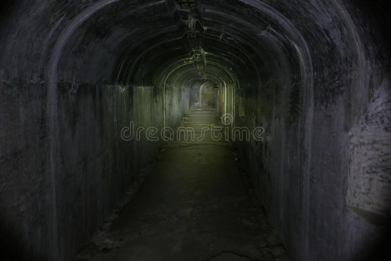 Underground passages of the Vladivostok fortress. Underground tunnel of Russian forts in Vladivostok stock photography