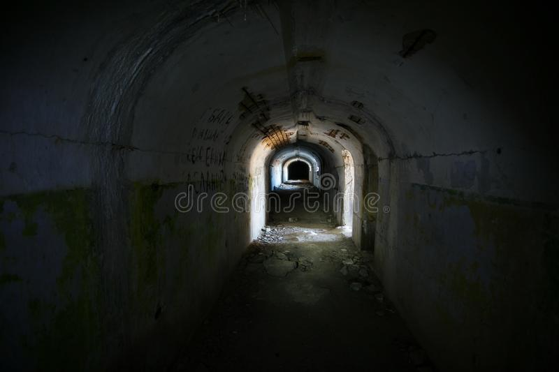 Underground passages of the Vladivostok fortress. Underground tunnel of Russian forts in Vladivostok royalty free stock images