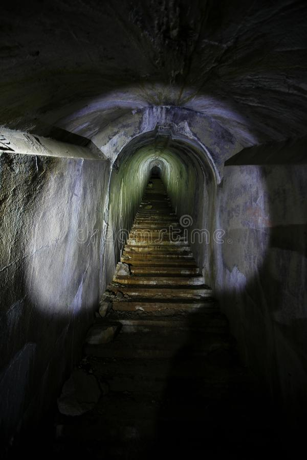 Underground passages of the Vladivostok fortress. Underground tunnel of Russian forts in Vladivostok royalty free stock photography