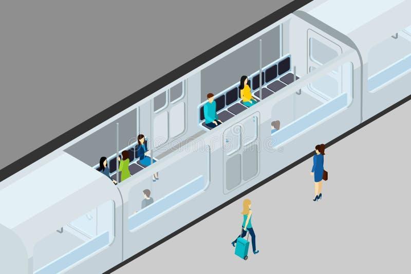 Underground People And Train Illustration. Underground people and train with train interior and seats isometric vector illustration stock illustration