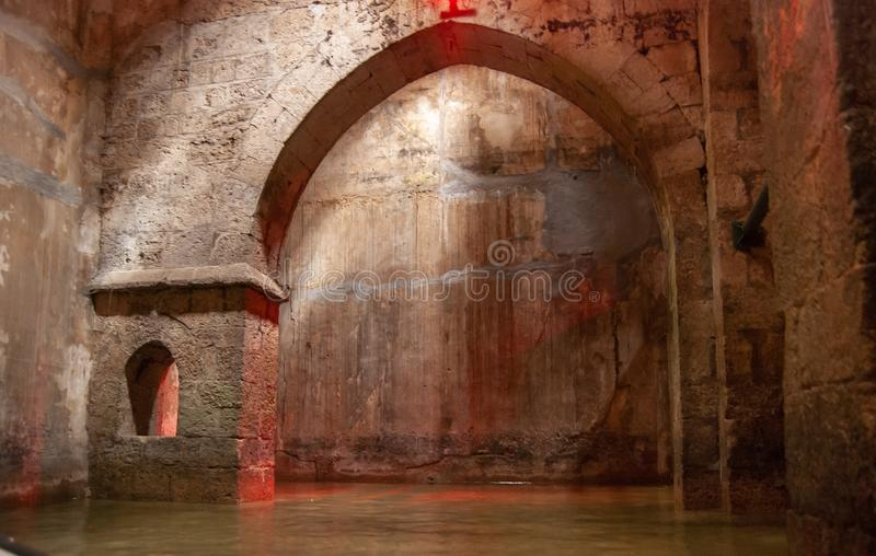 The underground Pool of Arches in Ramla. Israel. The underground Pool of Arches in Ramla.Israel. Built during the reign of the caliph Haroun al-Rashid in 789 AD royalty free stock image