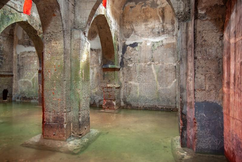 The underground Pool of Arches in Ramla. Israel. The underground Pool of Arches in Ramla.Israel. Built during the reign of the caliph Haroun al-Rashid in 789 AD royalty free stock images