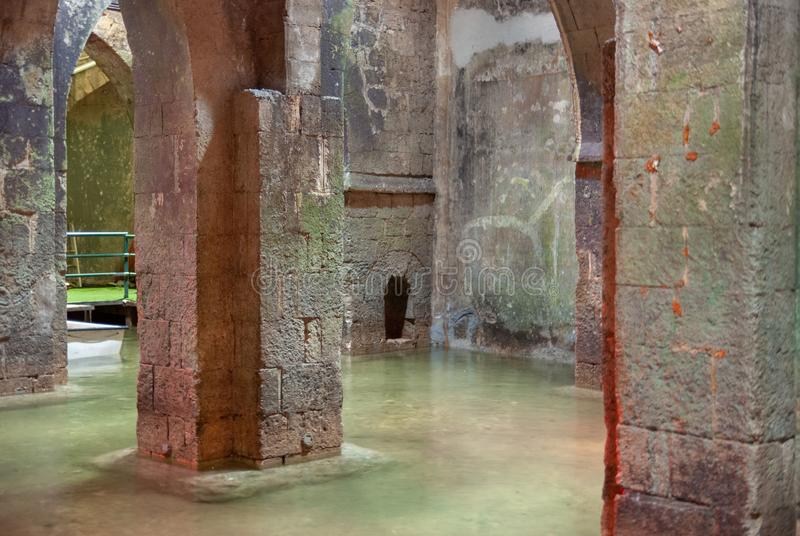 The underground Pool of Arches in Ramla. Israel. The underground Pool of Arches in Ramla.Israel. Built during the reign of the caliph Haroun al-Rashid in 789 AD stock photography
