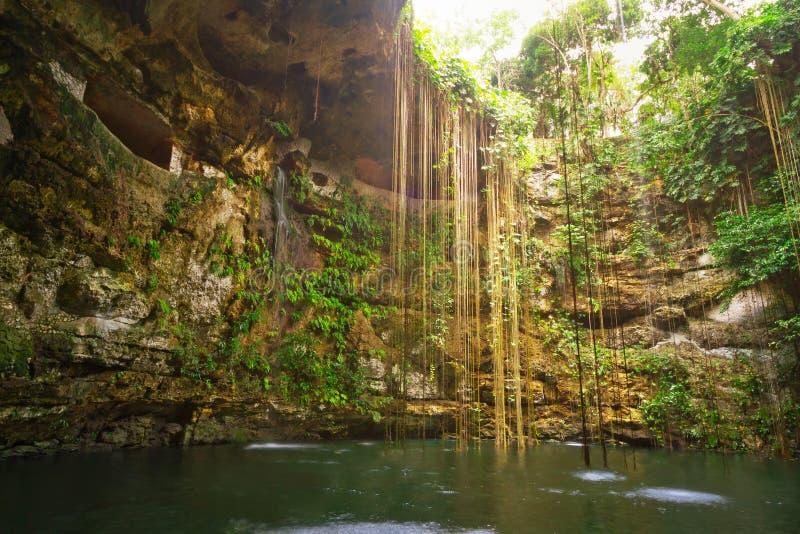 Underground pool Ik-Kil Cenote royalty free stock photography