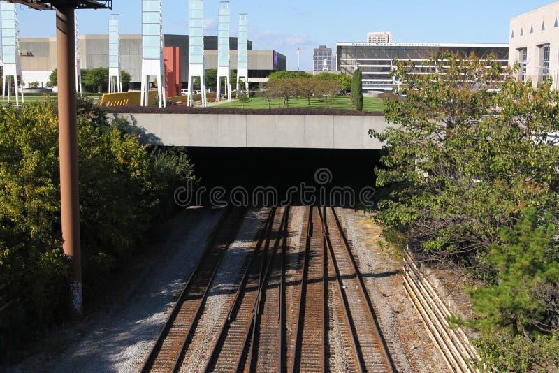 Underground rail tracks. stock images