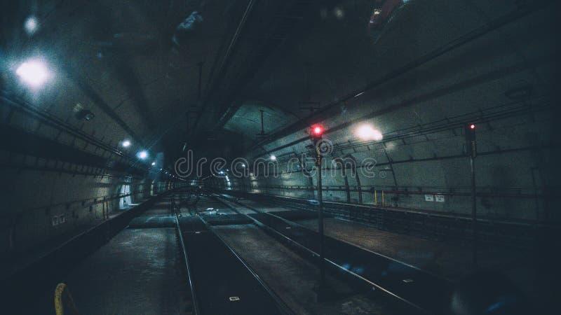 Underground railway tube tunnel stock photo