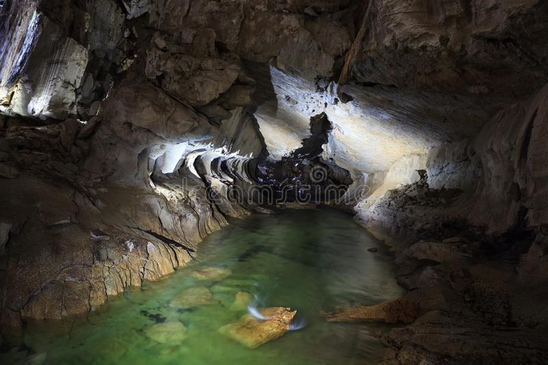 Underground river in clearwater cave. Gunung Mulu national park Borneo Malaysia royalty free stock images