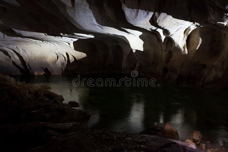 Underground river in clearwater cave. Gunung Mulu national park Borneo Malaysia stock image