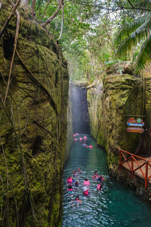 Underground river at XCaret park on the Mayan Riviera in Mexico royalty free stock photos