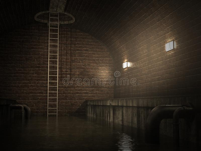 Underground Sewer, Sewage, Tunnel, Background stock images