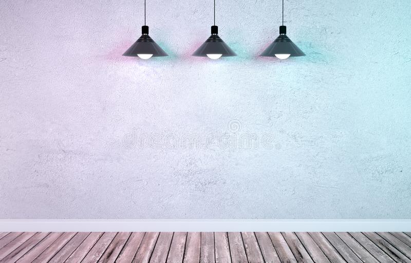 Underground showroom with three hanging metal lamps. Interior room with textured white concrete cement wall, wooden floor and plinth. Underground showroom with royalty free stock image