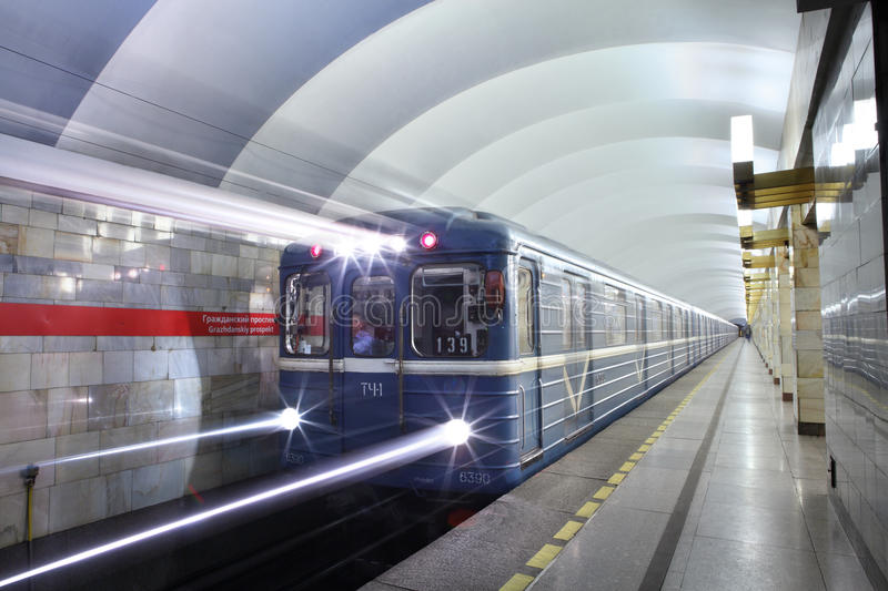 Underground subway station in the Russian city of St. Petersburg. royalty free stock image
