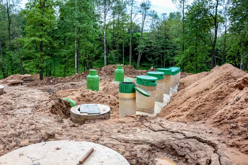 Underground tanks at the construction site. Of an apartment building stock image