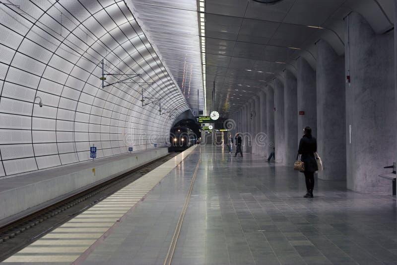 Underground train station stock image