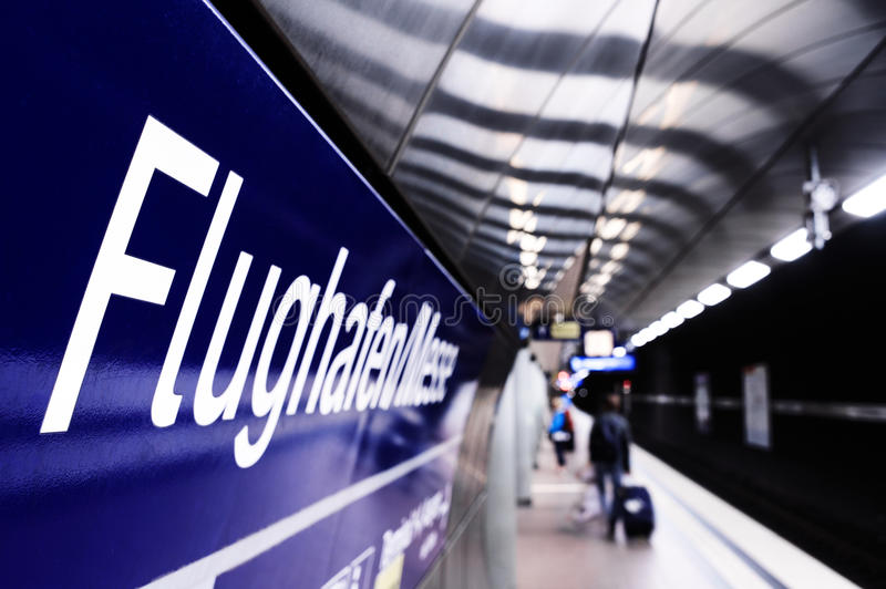 Underground train station at airport royalty free stock photography