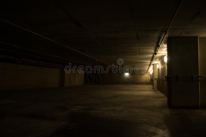 Underground tunnel with metallic pipes stock photos