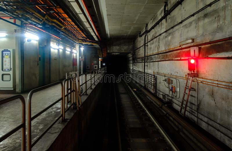 Underground tunnel for the subway train railway royalty free stock photos