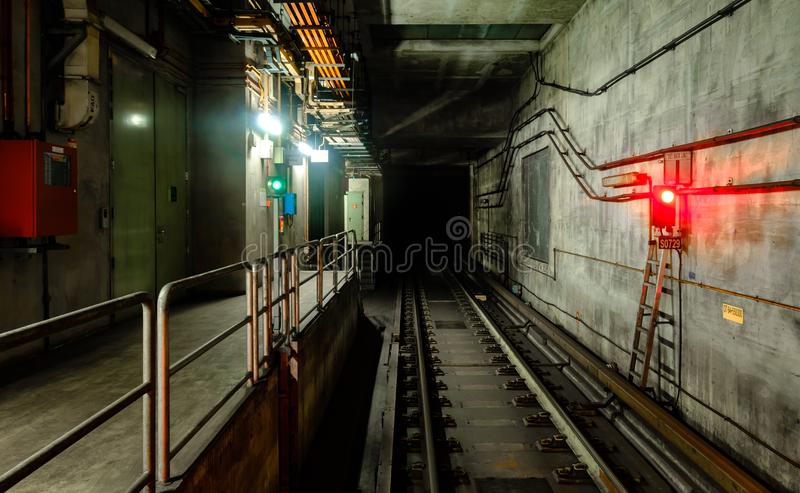 Underground tunnel for the subway train railway royalty free stock photo