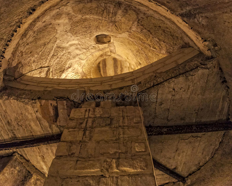 Underground Valletta. Looking up in a large water well wartime shelter under one of the buildings in the city of Valletta, Malta stock photography