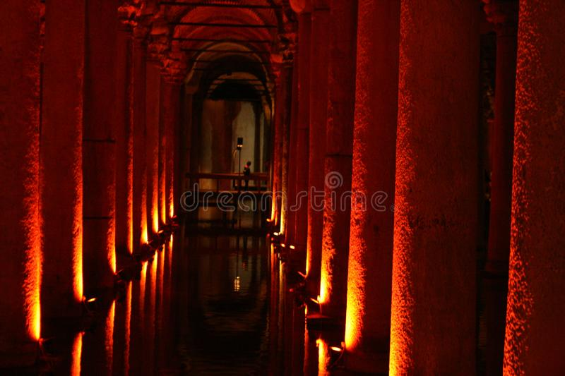 Underground water tanks are illuminated with red lanterns and look mysterious. The Basilica Cistern is one of the largest and well-preserved ancient stock photos