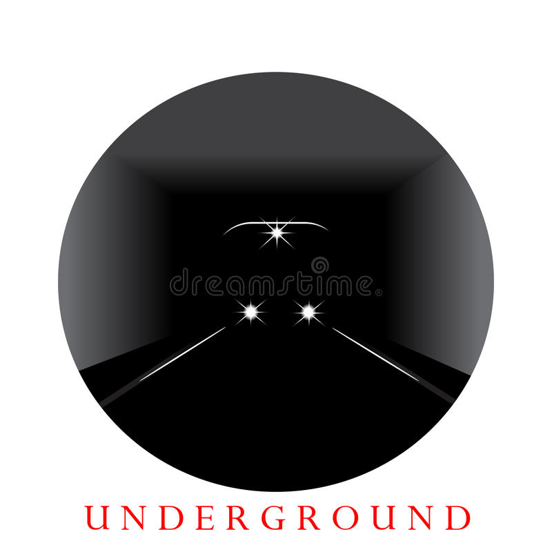 Underground. The word underground and the train in a tunnel vector illustration