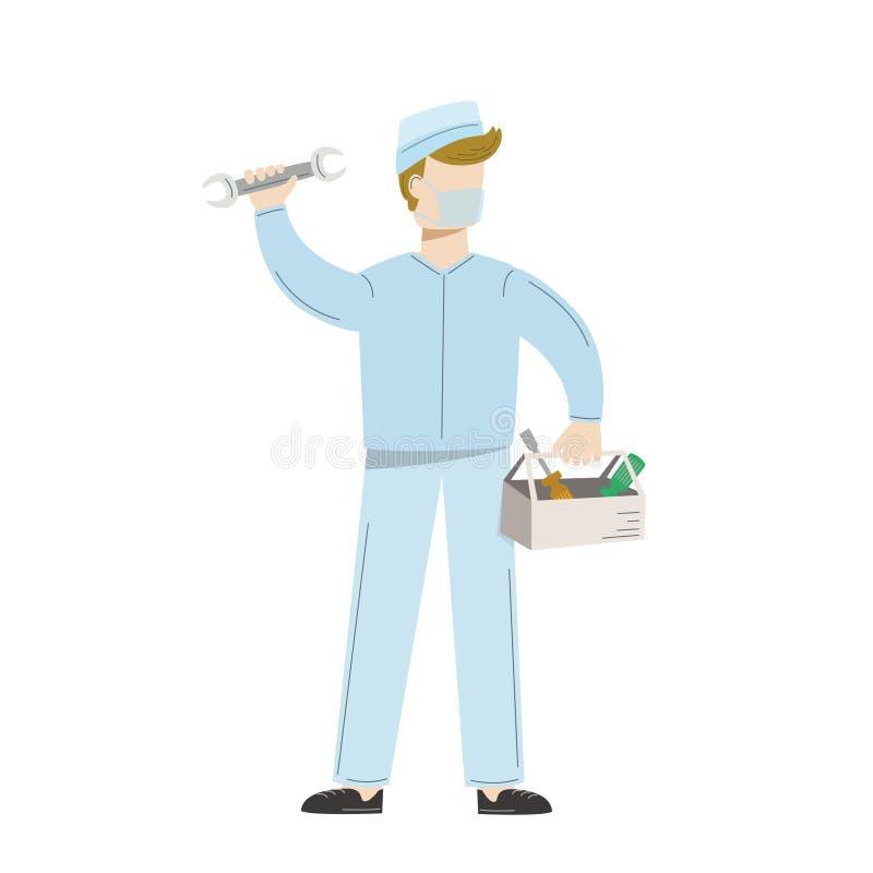 Underhåll för medicinsk utrustning Man i likformig med hjälpmedel för att reparera av medicinsk utrustning också vektor för corel vektor illustrationer