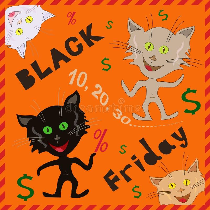 Underhållande katter som meddelar en Black Friday stock illustrationer