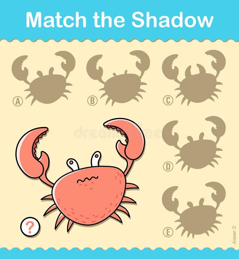 Underhållande pussellek för ungar med en röd krabba royaltyfri illustrationer