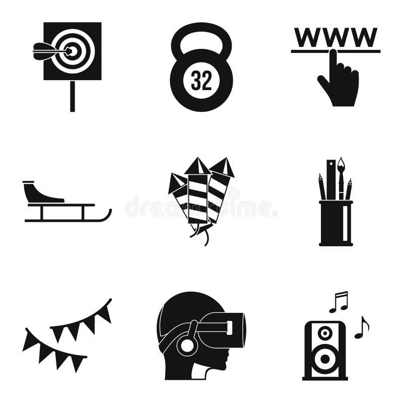 Underhållning av de framtida symbolerna ställde in, enkel stil vektor illustrationer