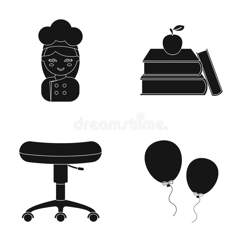 Underhållning, utbildning, yrke och annan rengöringsduksymbol i svart stil snöra åt leksaken, feriesymboler i uppsättningsamling stock illustrationer