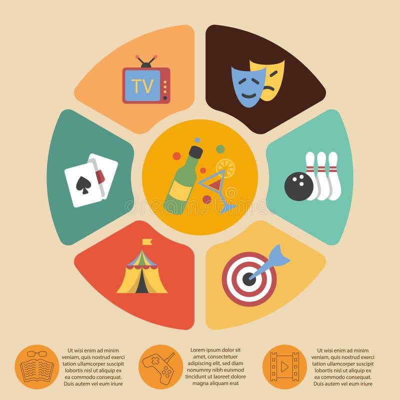 Underhållninginfographicsuppsättning royaltyfri illustrationer
