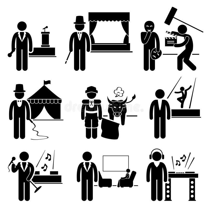 Underhållningkonstnär Jobs Occupations Careers royaltyfri illustrationer