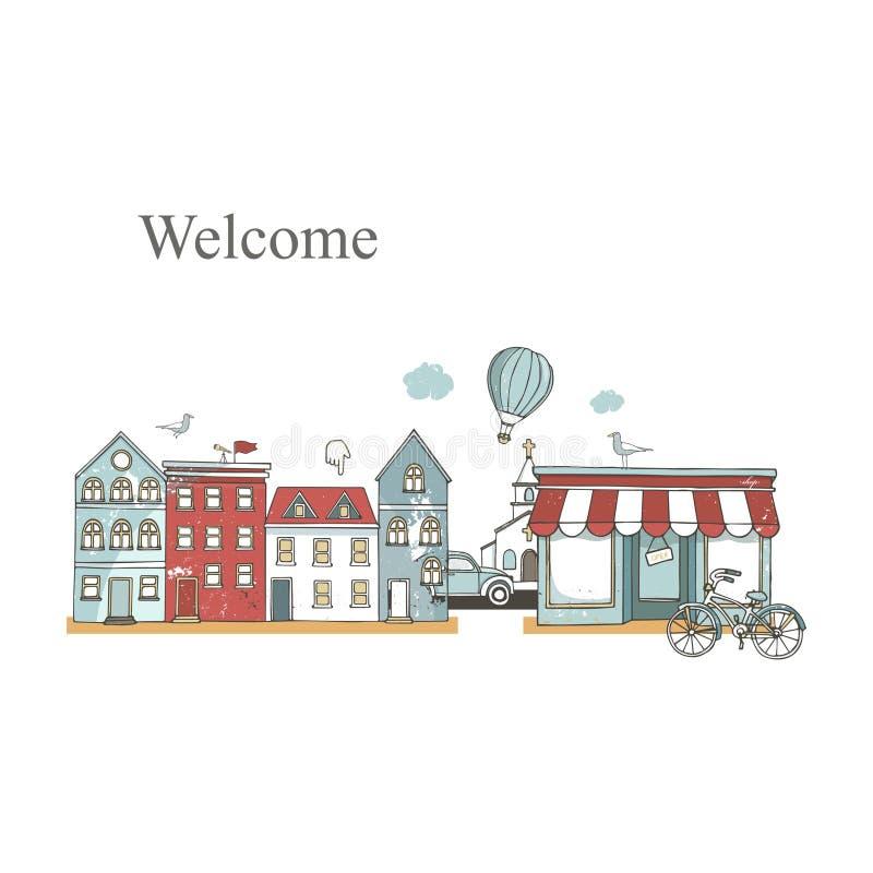 Underhållningstadsställen ställde in med byggnader i plan design Kaférestaurang, musikteater, cykel, ballongstadsbakgrunder Urban vektor illustrationer