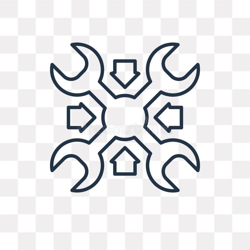 Underhållsvektorsymbol som isoleras på genomskinlig bakgrund, linje vektor illustrationer