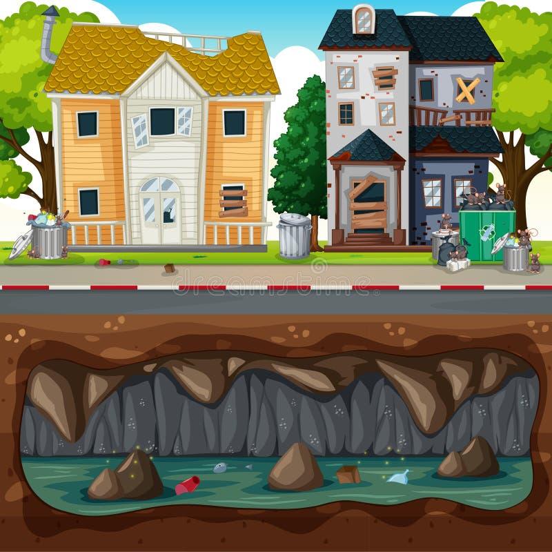 Underjordisk förorening på den smutsiga grannskapen royaltyfri illustrationer